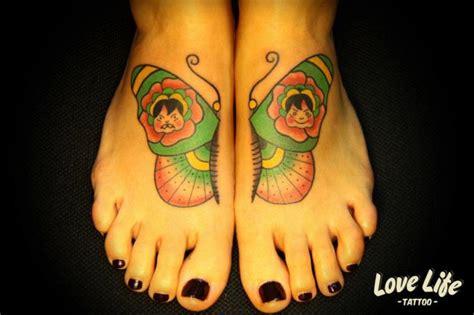 new school love tattoo new school foot butterfly tattoo by love life tattoo