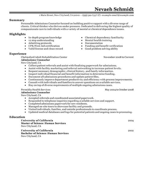 cover letter for admissions counselor best admissions counselor resume exle livecareer