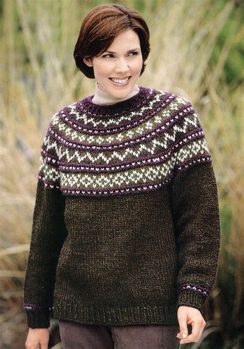 knitting patterns for sweaters yoke sweater knit in brand wool ease chunky 1196a