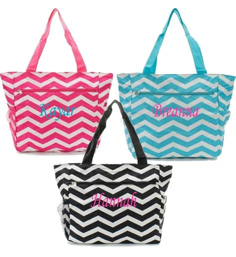 personalized canvas tote bag pocket chevron beach bag
