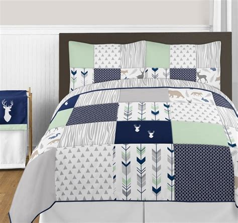 navy blue and grey bedding navy blue mint and grey woodsy deer 3pc boy full queen