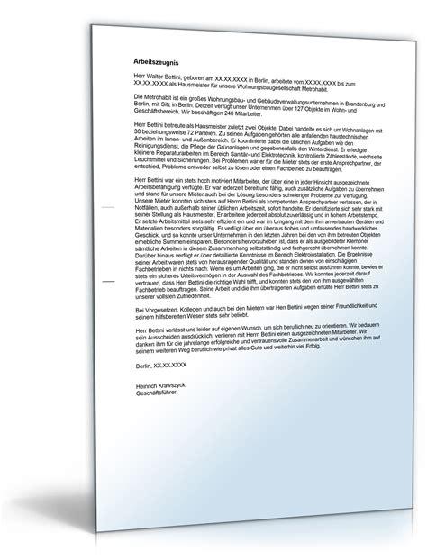 Bewerbung Hausmeister Vorlage Arbeitszeugnis Quot Sehr Gut Quot Hausmeister In