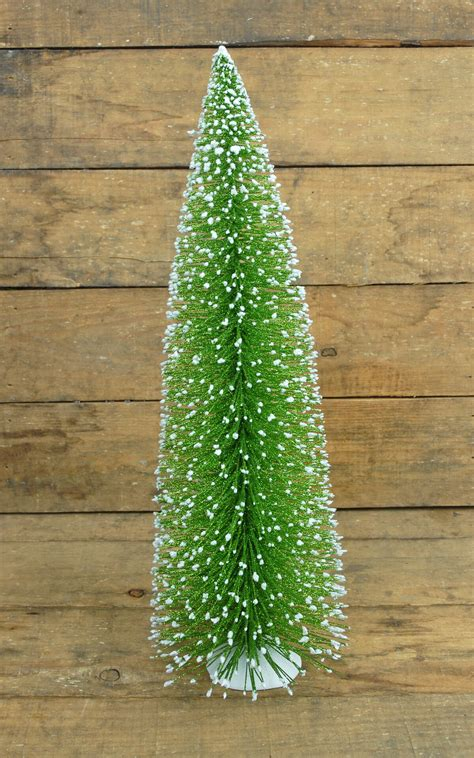 snowy bottle brush christmas tree 16in