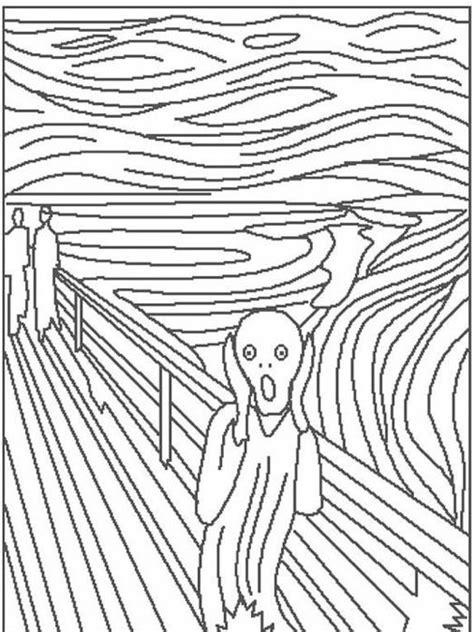 coloring pages classic art edvard munch quot the scream quot preschool classical art discuss