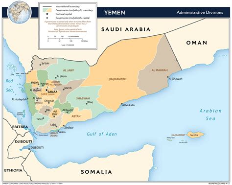printable map of yemen large detailed administrative divisions map of yemen
