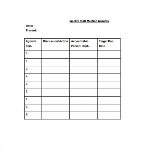 weekly meeting minutes template staff meeting minutes template 17 free word excel pdf
