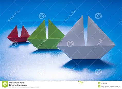 Origami Sailing Ship - paper ships sailing on blue paper sea origami boat paper