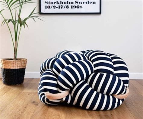 white floor cushion white and blue stripes knot floor cushion by knots