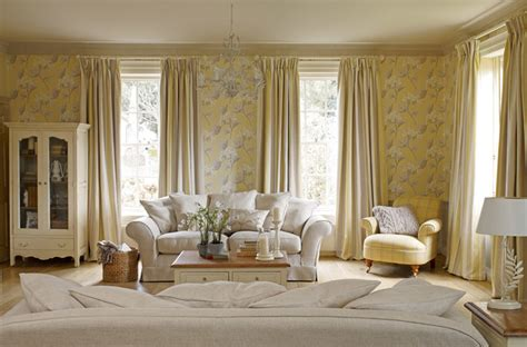 Home Decor Showrooms by Laura Ashley Millwood Wallpaper Eclectic Living Room