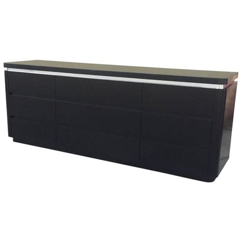 black lacquer dresser furniture chic dresser in black lacquer and brushed steel banding
