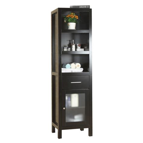 espresso bathroom linen cabinet with tons of storage