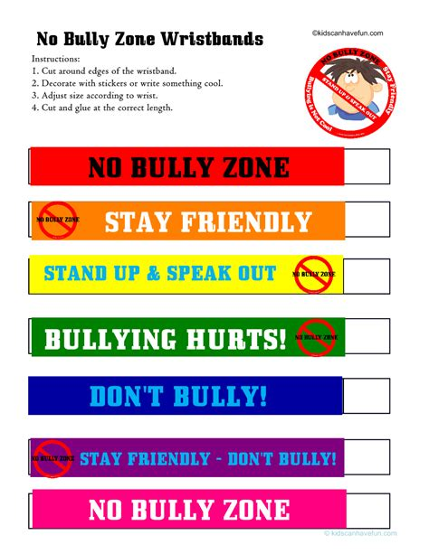 printable bullying bookmarks no bully zone wristbands no bullying don t bully anti