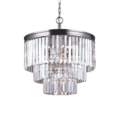 Nickel Chandelier Lighting Shop Sea Gull Lighting Carondelet 18 188 In 4 Light Antique Brushed Nickel Clear Glass