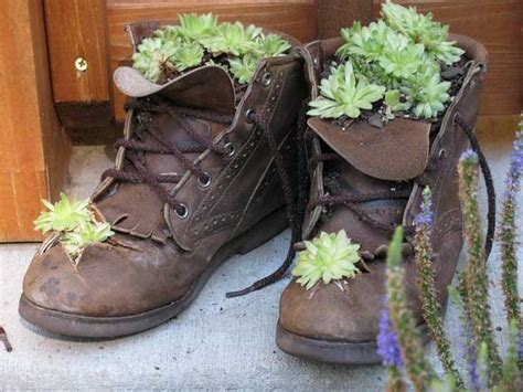 Plants And Flowers In Old Shoes And Boots 20 Creative Boot Planter