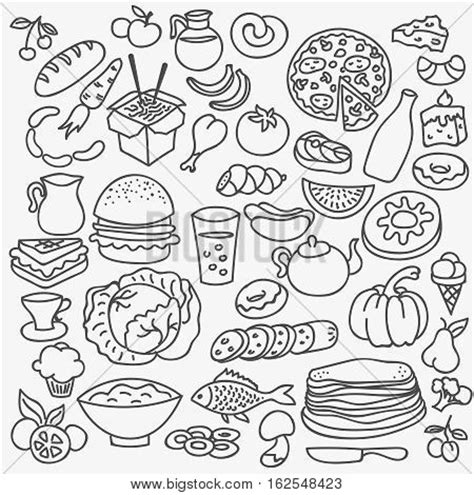 doodle food icons set doodle food icons vector food set background