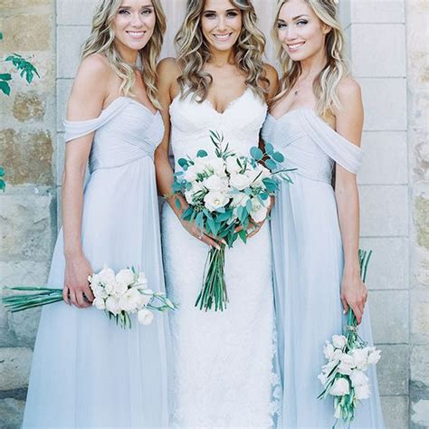 Blue Bridesmaid Dress by Mismatched Different Styles Chiffon Light Blue Floor