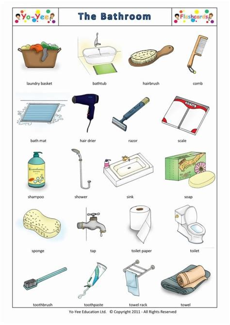bathroom items list bathroom and body care flashcards for kids