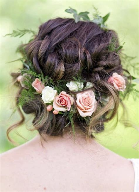 wedding hairstyles flower braided updo flower crown wedding hairstyle updo