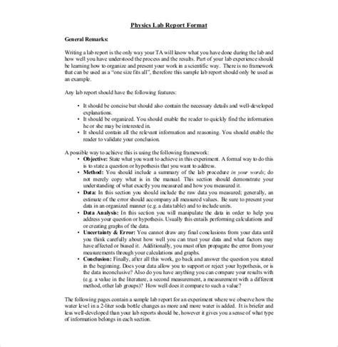 physics lab report template 14 laboratory report templates free sle exle