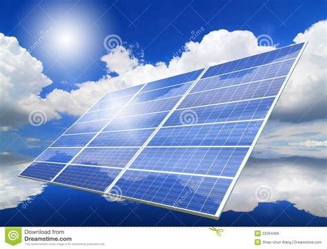 solar panel with reflection of blue sky royalty free stock