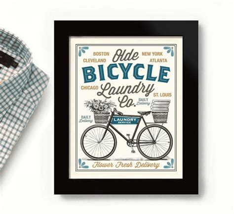 Laundry Mat Names by Bicycle Laundry Room Decor Vintage Bicycle City Names