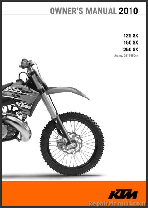 Ktm Manuals 2010 Ktm 125 150 250 Sx Motorcycle Owners Manual