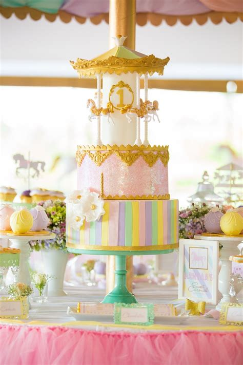 Kara s party ideas gold and pastel carousel birthday party kara s party ideas
