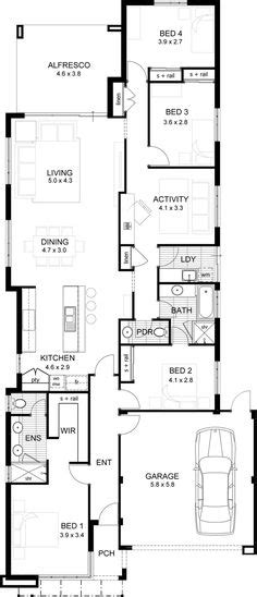 Narrow Sloping Lot House Plans Single Level Living by 1000 Images About Single Storey Floor Plans Narrow Lot