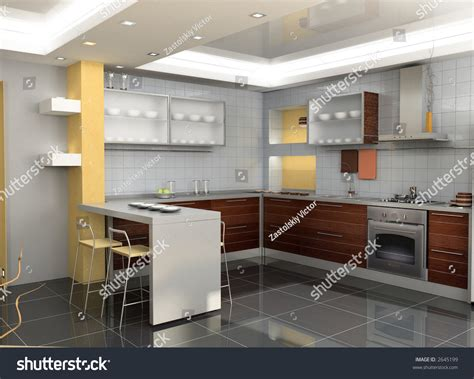 Modern Kitchen Interior 3d Rendering | modern kitchen interior design 3d rendering stock photo