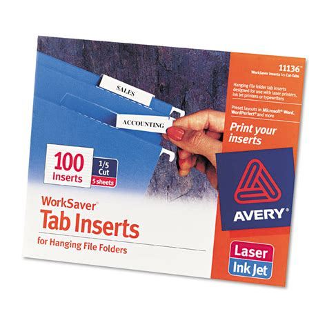 file side label template printable inserts for hanging file folders 1 5 tab two white 100 pack 072782111366 ebay