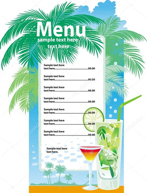 Juice Menu Card Templates by Template Designs Of Cocktail Menu Stock Vector 169 Wikki33