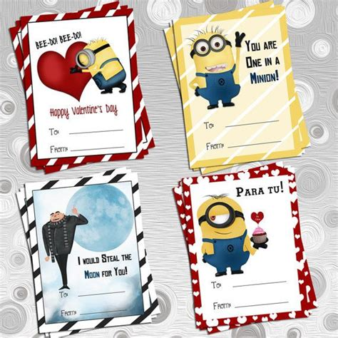 despicable me valentines diy printable 4 despicable me s cards minions