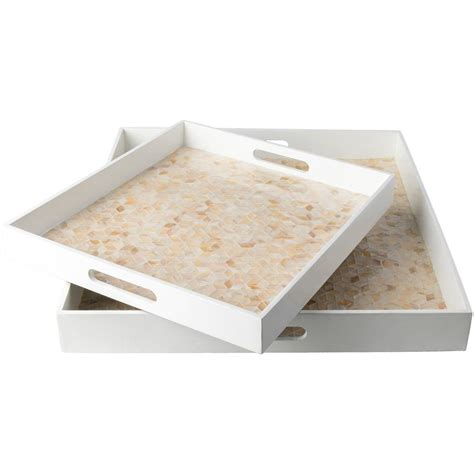home decor tray artistic weavers utone white 2 decorative tray set