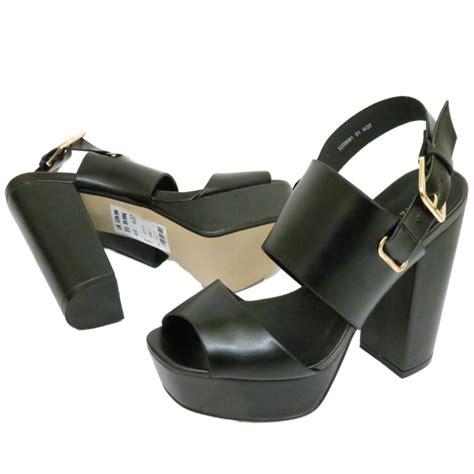 size 2 high heel shoes ankle platform chunky high block heel peeptoe