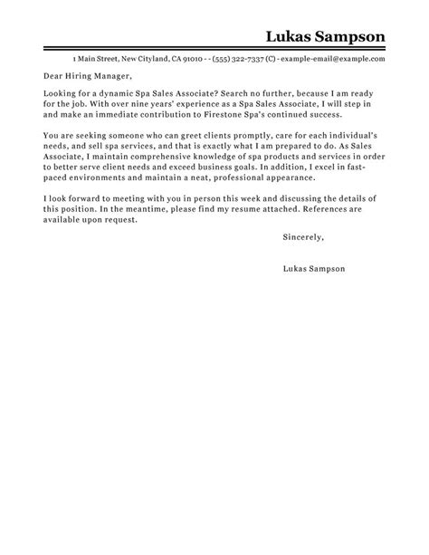 sales associate cover letter sle my perfect cover letter