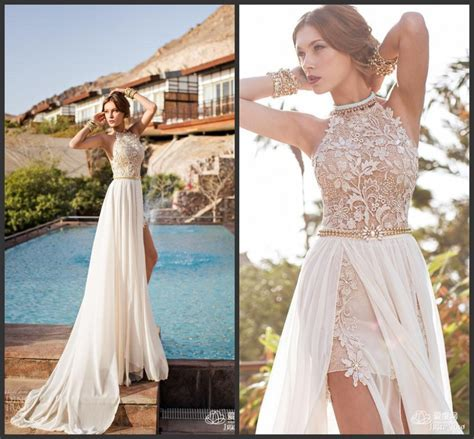 2015 Julie Vino Summer Beach Wedding Dress Halter Backless
