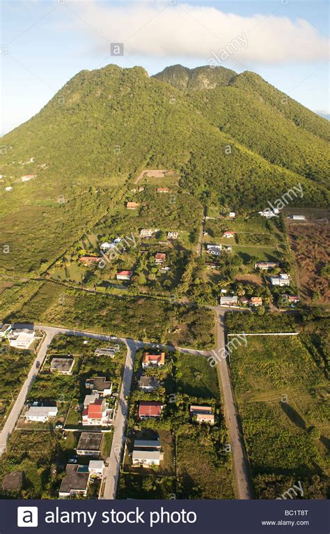 Bc Quill 1 aerial view of sint eustatius and the quill stock photo