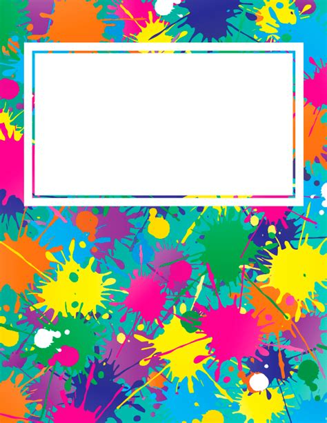 Free Printable Paint Splatter Binder Cover Template Download The Cover In Jpg Or Pdf Format At Free Splash Page Template