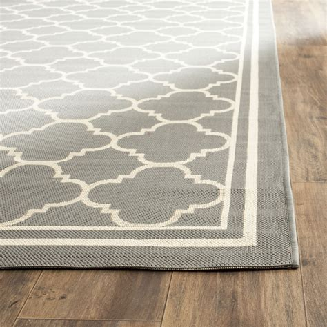 Safavieh Courtyard Anthracite Beige Indoor Outdoor Area Outdoor Porch Rugs