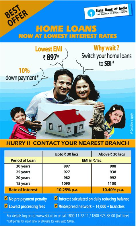 rate of interest for housing loan in sbi sbi offers lowest home loan rates comparision