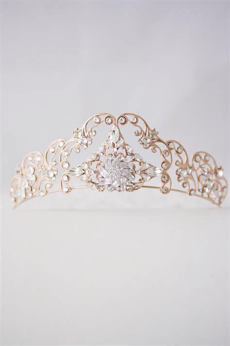 rose tiara rose gold tiara crystal wedding tiara filigree bridal crown