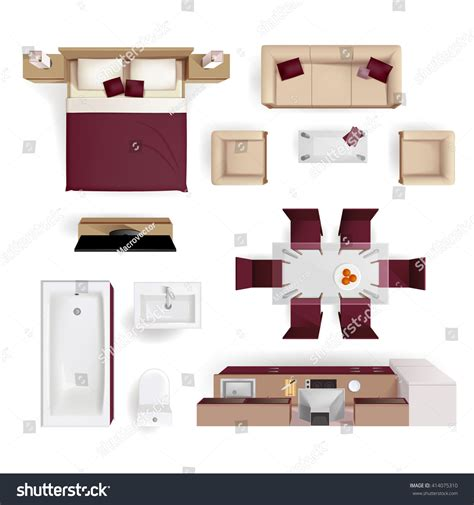 layout view modern apartment living room bedroom bathroom stock vector