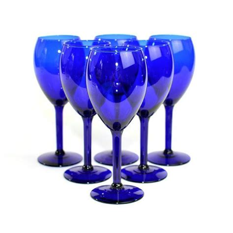 Royal Blue Glass vintage cobalt blue wine glass water goblet set 6