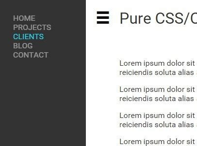 pure css off canvas sidebar navigation css script pure css css3 off screen side navigation css script