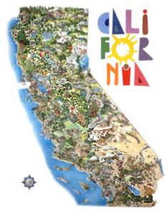 california map with tourist attractions illustrated california by philippe plouchart
