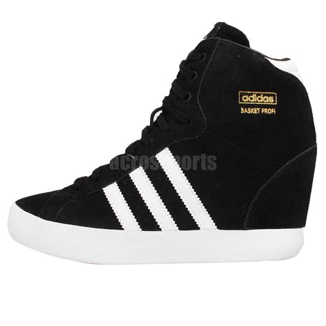 adidas wedge sneakers black adidas originals basket profi up w black white womens