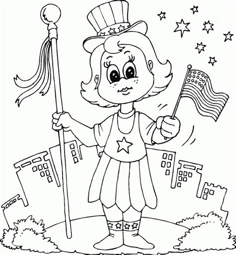 patriotic coloring pages preschool patriotic girl coloring page coloring com