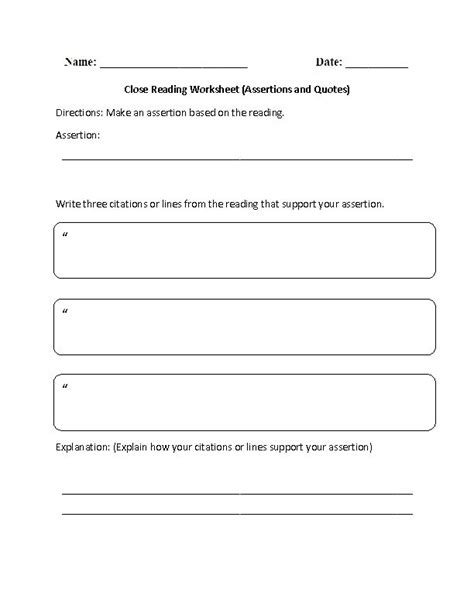 Close Reading Activities Worksheets