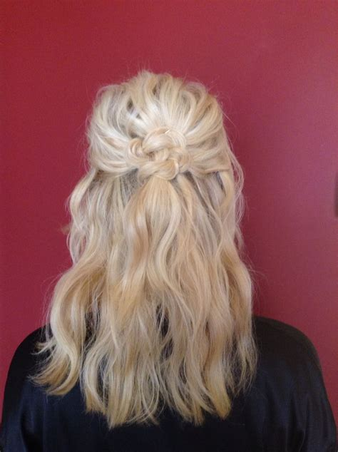 knotted half up half down hairstyles half up half down bridesmaid celtic knot blonde beach
