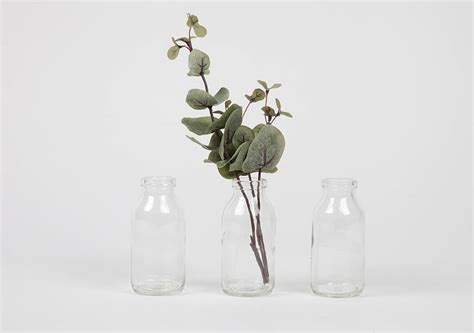 set of three mini glass milk bottle vases by horsfall